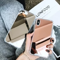 fashion shockproof drop proof make up mirror airbag back case cover for iphone 12 mini 11 pro max xs max x xr 8 7 6 6s plus se