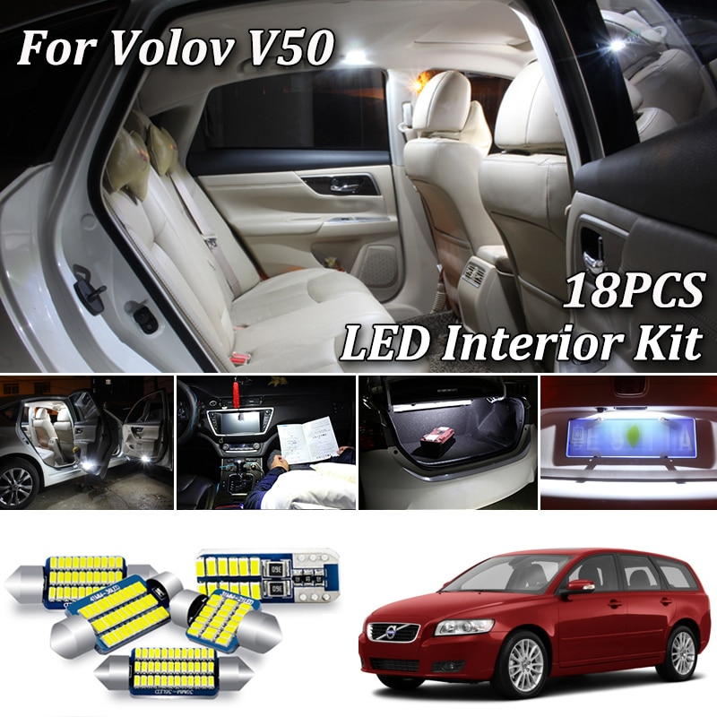18Pcs Kein Fehler Weiß Canbus Für Volvo V50 545 Wagon LED Innen Licht + Kennzeichen Lampe Kit (2004-2012)