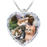 womens heart shaped crystal cat necklace pendant fashion lady jewelry cute cat necklace pendant exquisitely beautiful style hea