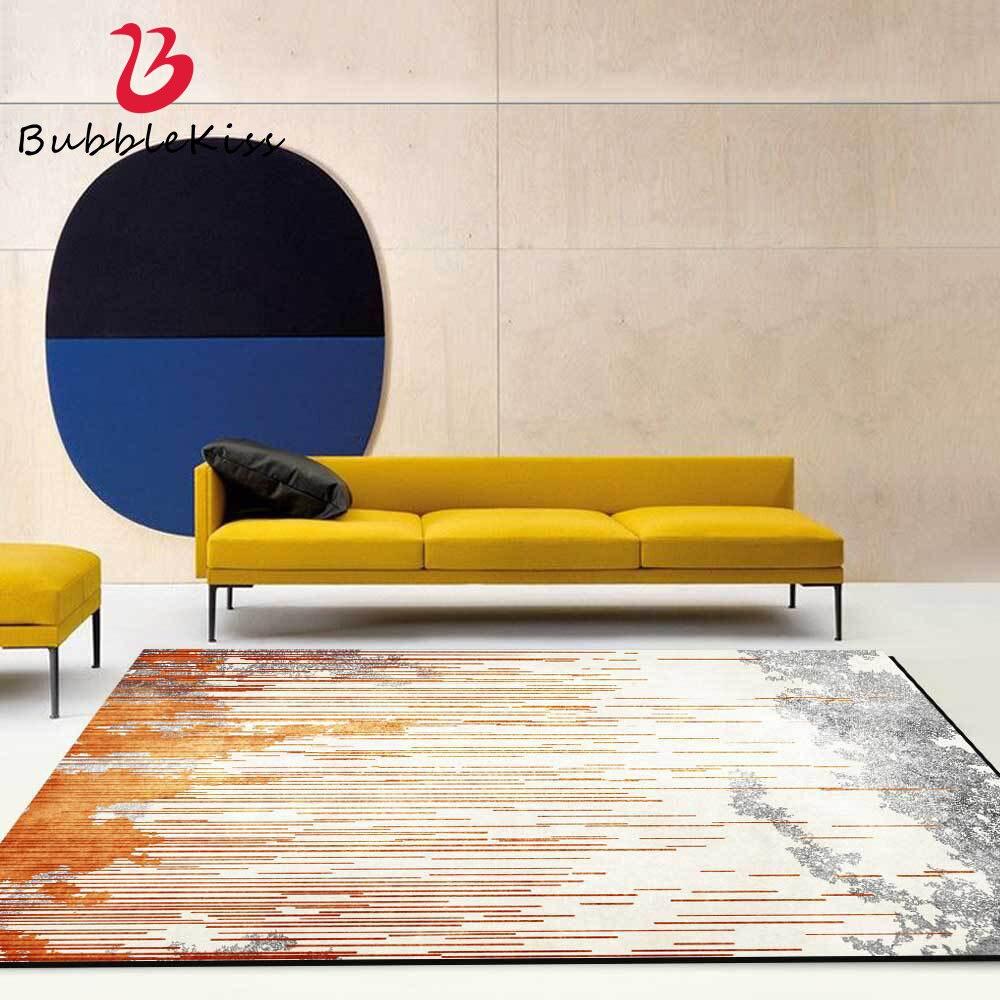 Bolha beijo moderno sala de estar tapete nórdico abstrato gradiente estilo padrão laranja tapetes para decoração do quarto tapete antiderrapante