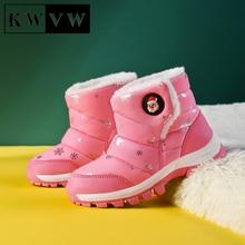 Fashion Printing Kids Winter Shoes Comfortable Soft Non-slip Boy Girl Snow Sport Booties Plus Velvet