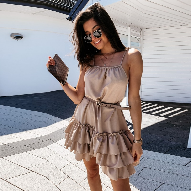 Sexy Spaghetti Strap Ruffle Solid Sleeveless 2021 Summer Women Dresses Loose A Line Mini Holiday Beach Dress Sundress Robe sexy beach summer dresses women 2019 solid chiffon a line short holiday dress backless bowknot ladies beach cover up plus size