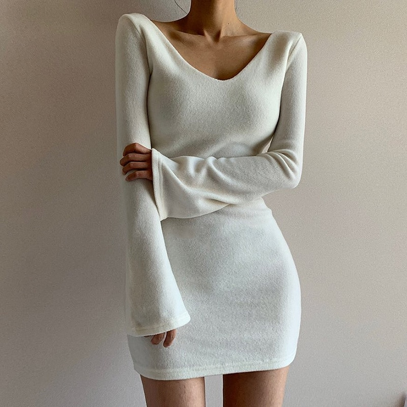 2020 New Lady's Fashion Solid Color One-piece Dress Sexy V-neck Long Flared Sleeve Slim Package Hip Dress Hot Outfit