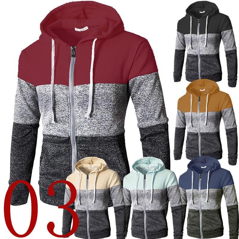 Brand Sweatshirt Men 2019 Korean Fashion Striped Color Block Hoodie Long Sleeve Zipper Cardigan Hip Hop Stretwear Winter Coat