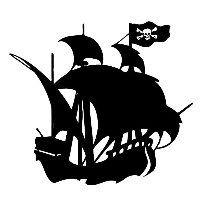 Популярные автомобильные Стикеры, пиратский корабль, модный автомобильный Стайлинг, декоративные наклейки, виниловые черные/серебряные ав...