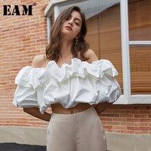 [EAM] Women White Ruffles Split Joint Blouse New Slash Neck Short Sleeve Loose Fit Shirt Fashion Tide Spring Summer 2020 1U703