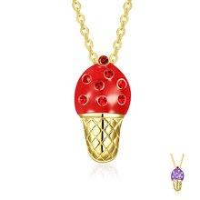 Sweet Cute Ice Cream Pendant Necklaces Women Luxury Rhinestone Fashion Jewelry Accessories Necklace