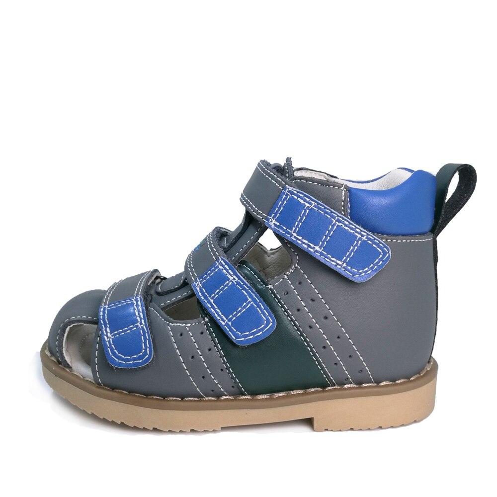 Ortoluckland-أحذية تقويم العظام من الجلد الطبيعي للأطفال ، صنادل صيفية مغلقة من الأمام ، مسطحة ، للأطفال 3 4 سنوات