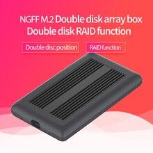 Dual Cabinet Array di NGFF M.2 ssd caso typec porta di trasmissione ad alta velocità ssd enclosure dissipazione di calore in metallo supporto a doppio disco