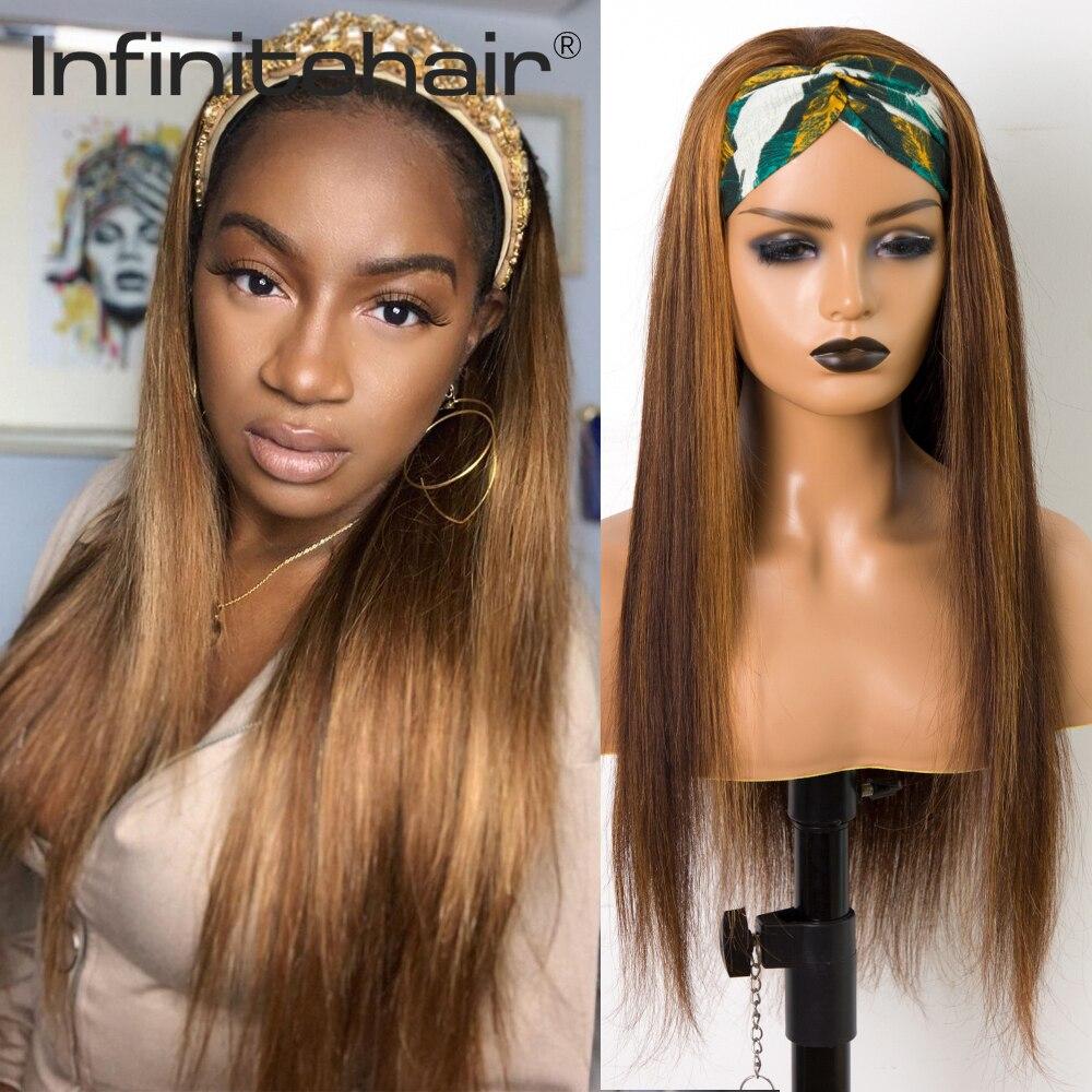Brazilian Highlight Straight Headband Glueless Scarf Remy Human Hair Full Machine Made Wig for Black Women Beginner Friendly