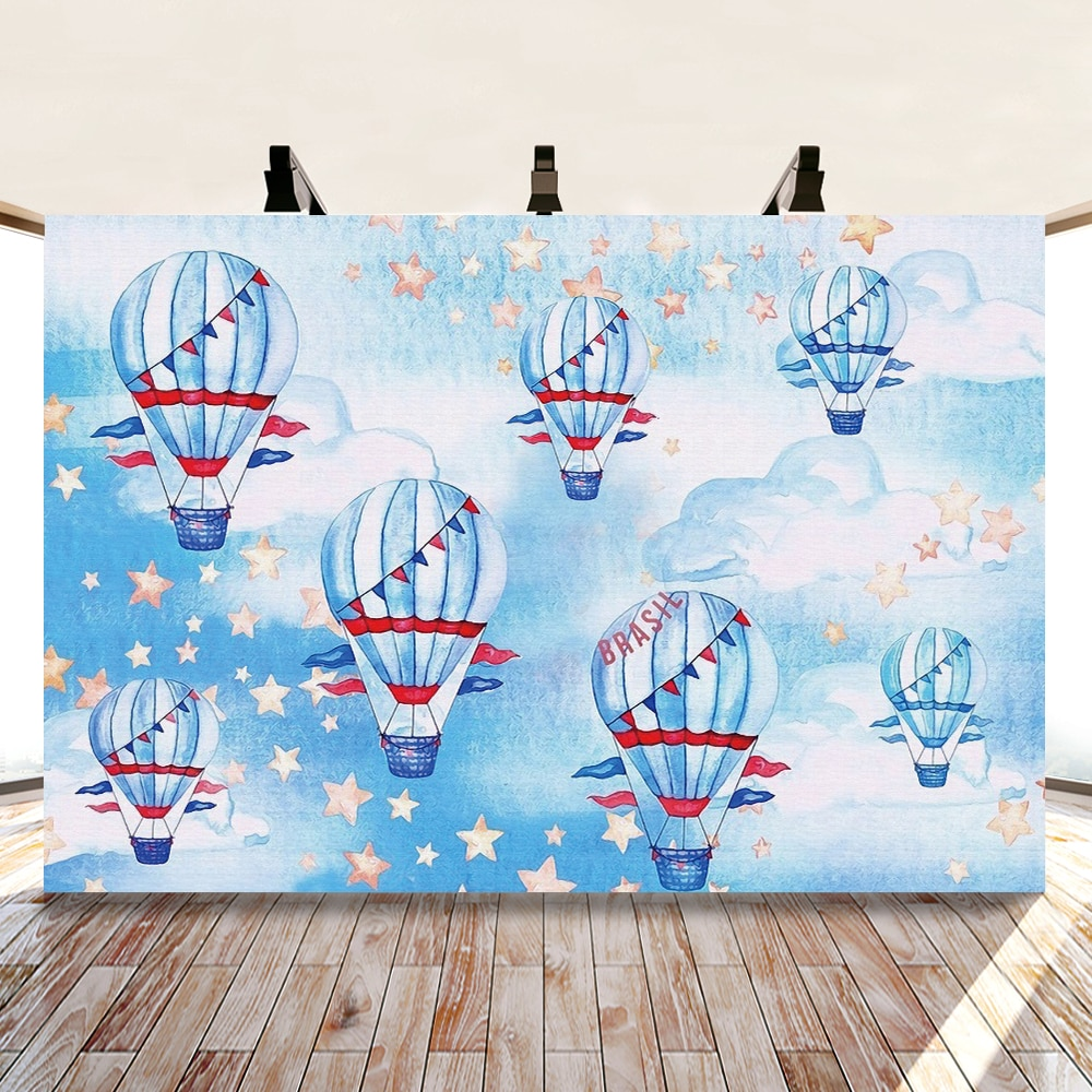 Yeele Cartoon Hot Air Balloon Photocall Blue Sky Photography Backdrop Personalized Photographic Backgrounds For Photo Studio