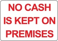 no cash is kept on premises red on white label vinyl decal sticker kit osha safety label compliance signs 8