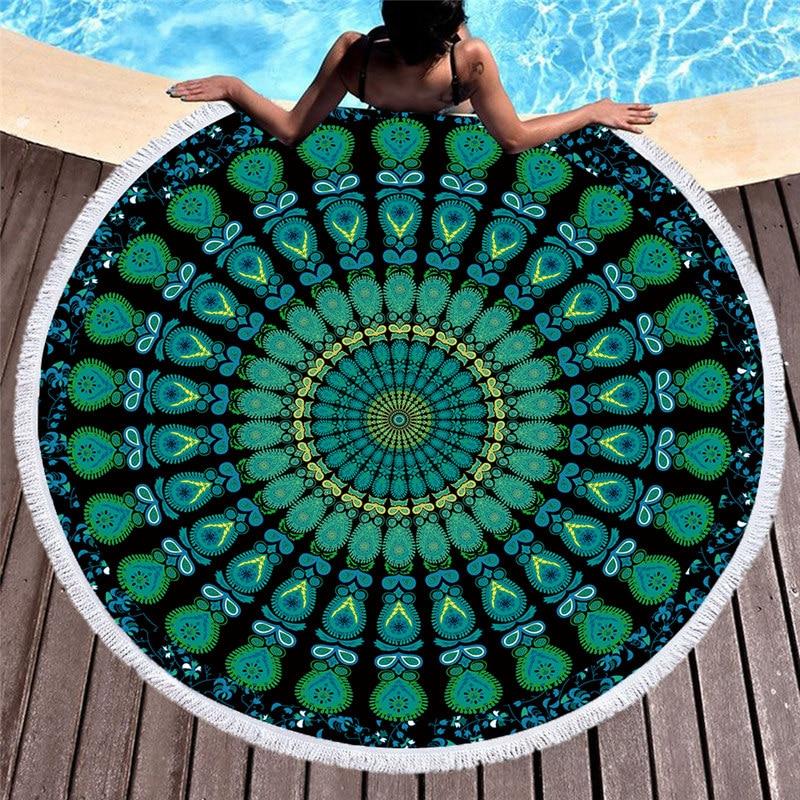 Toalla de playa redonda Mandala Toalla de baño de tela de microfibra 150cm tamaño gran oferta muchos colores