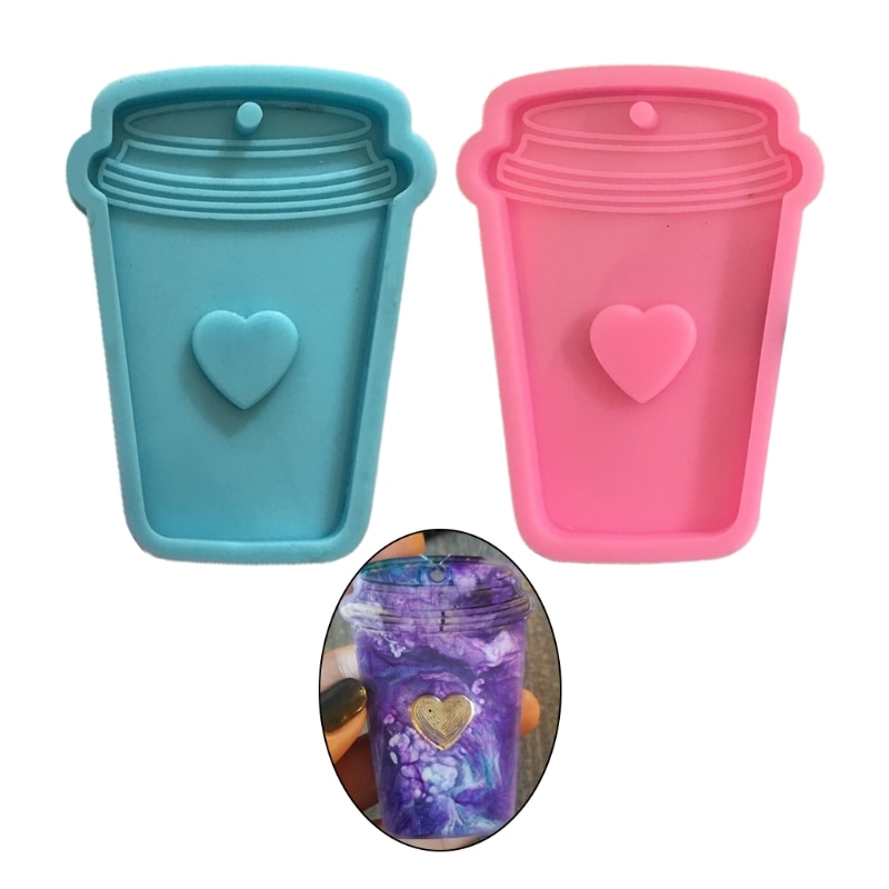 Shiny Glossy Love Coffee Cup Keychain Epoxy Resin Mold Jewellery Necklace Pendant Silicone Mould DIY Crafts Polymer Clay HX6F