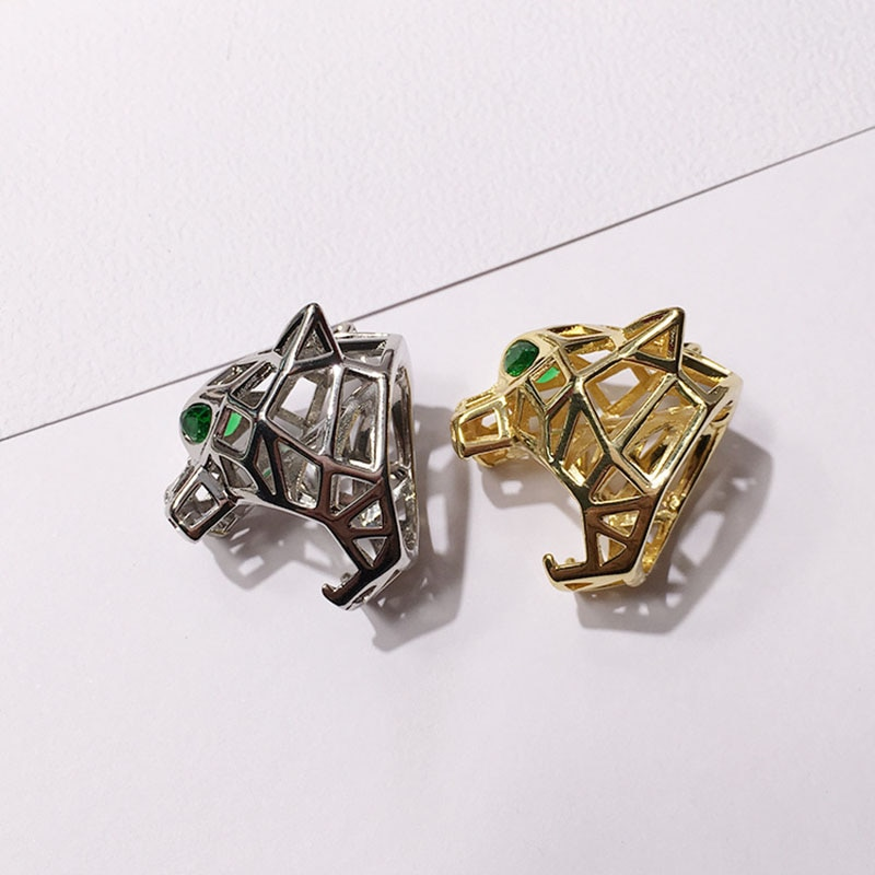 Alta calidad marca joyería Punk Sryle oro plata tono corte hueco verde ojo Tigre leopardo anillo para mujer