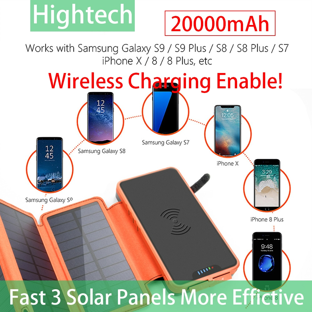 Usb Charging 20000mAh Solar Power Bank With 3 Solar Panel Portable Charger Dual LED Lights Support All Devices