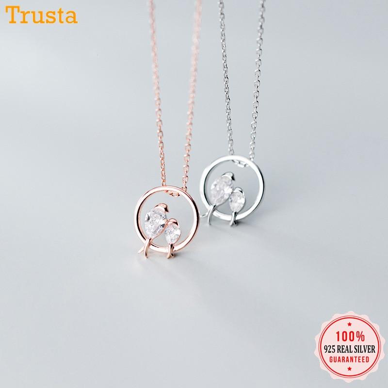 Trustdavis 100% de Plata de Ley 925 deslumbrante pájaro en amor colgante de circonia cúbica collar gargantilla para mujer joyería de plata 925 DA462