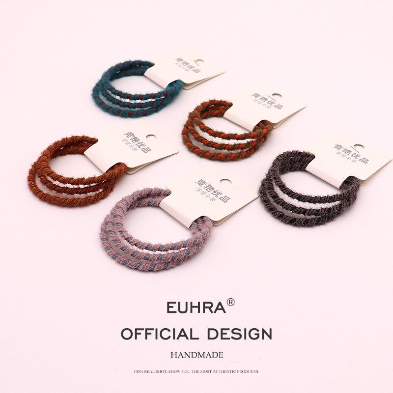EUHRA, 3 шт., классический стиль, плюш, смешанные цвета, обмотка, эластичные резинки для волос для девочек, женщин, детей, резинки