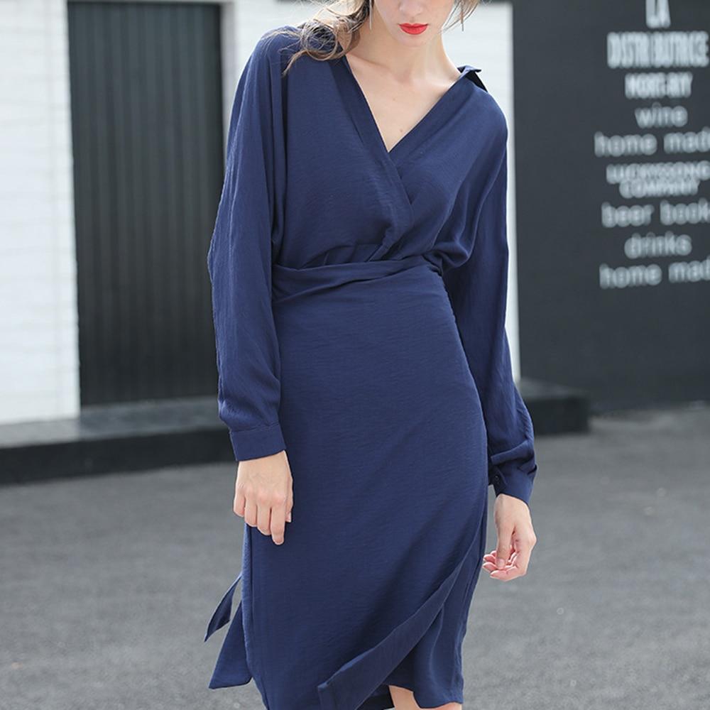 Women's Dress Female Elegant Long Sleeve Shirt Dress Fashion Solid Lapel Neck Mini Dress Vestido