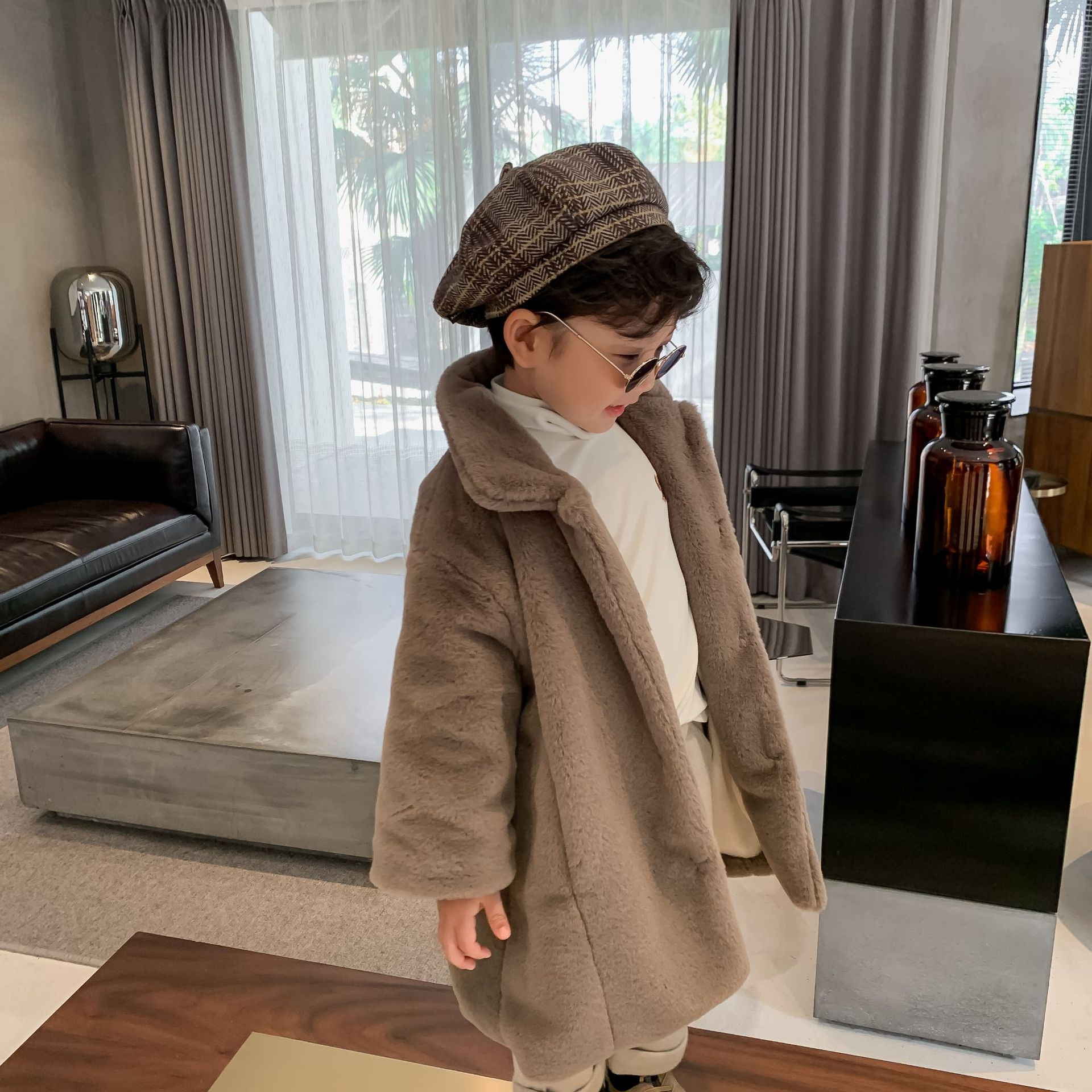 Детская куртка, новинка зимы 2020, меховое пальто средней длины для мальчиков и девочек, однобортное плотное Детское пальто-2
