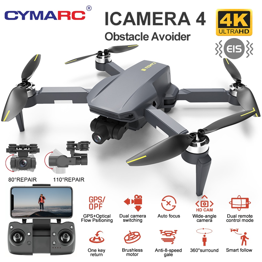 HR iCamera4  Anti-Shake Gimbal Helicopter Drone Brushless Motor Quadcopter FPV 4K HD Multi-Axis Stee