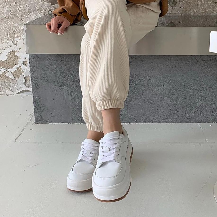 LALA IKAI 2021 ربيع الخريف sunnei الخبز أحذية امرأة سميكة سوليد حذاء أبيض عبر الدانتيل متابعة موضة حذاء مسطح جلد طبيعي