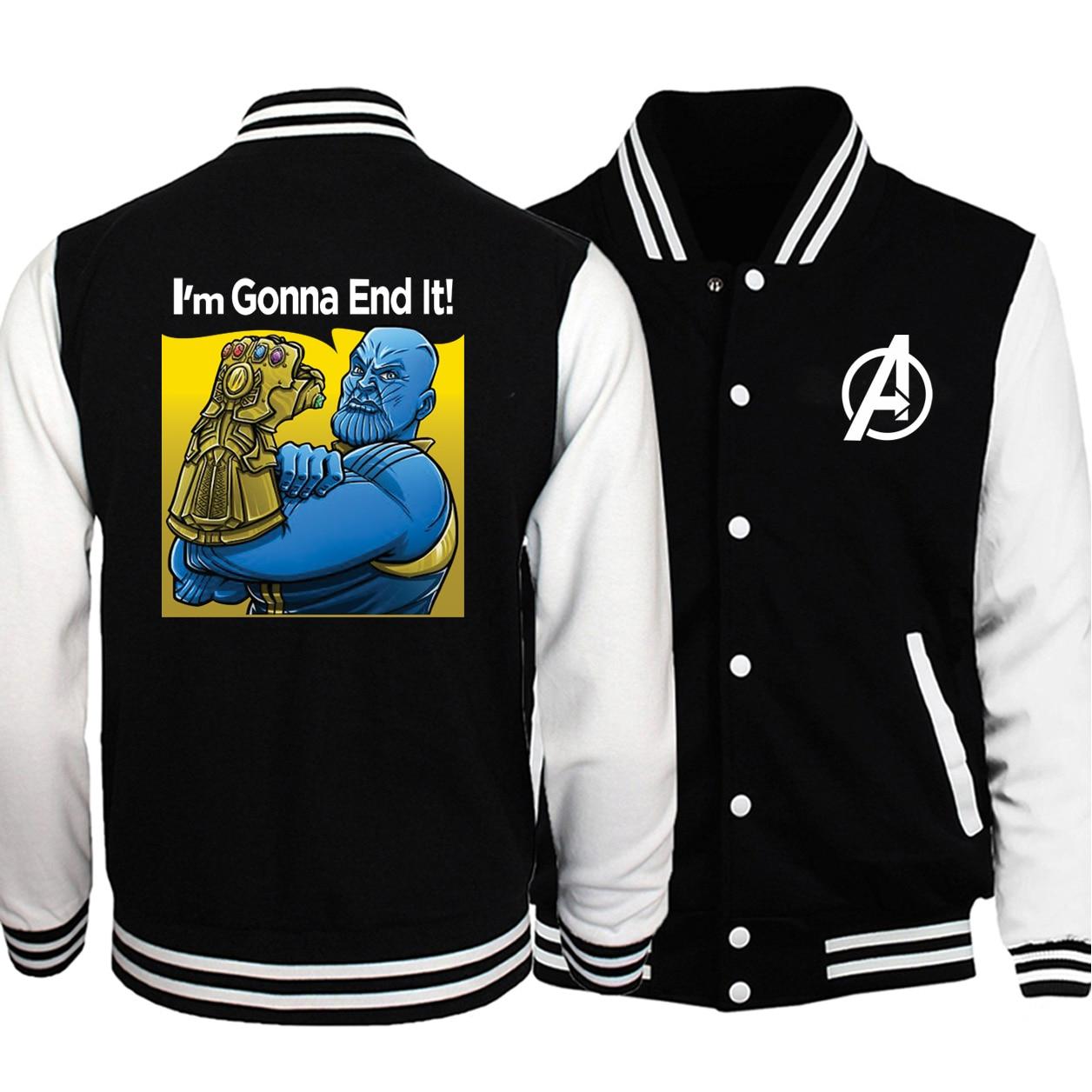 Los Vengadores Thanos Baseball hombres Im gonna end it chaquetas abrigos invierno otoño Guantelete del Infinito chaqueta Bomber de talla grande