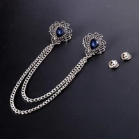 new vintage alloy rhinestones large brooches fashion shawl tassel chain lapel pin shirt suit jewelry for men wedding accessories