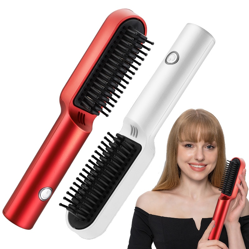 New Lazy Wireless Hair Straightener&Hair Straightener Comb Electric Mini Curly Hair Straightener Dua