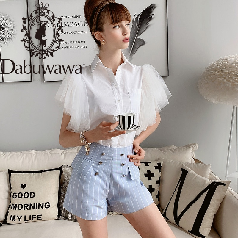 Dabuwawa Blue Vertical Striped Pocket Front Shorts Women Summer High Waist Slim Fit Casual A-Line Shorts Female D18BSP006