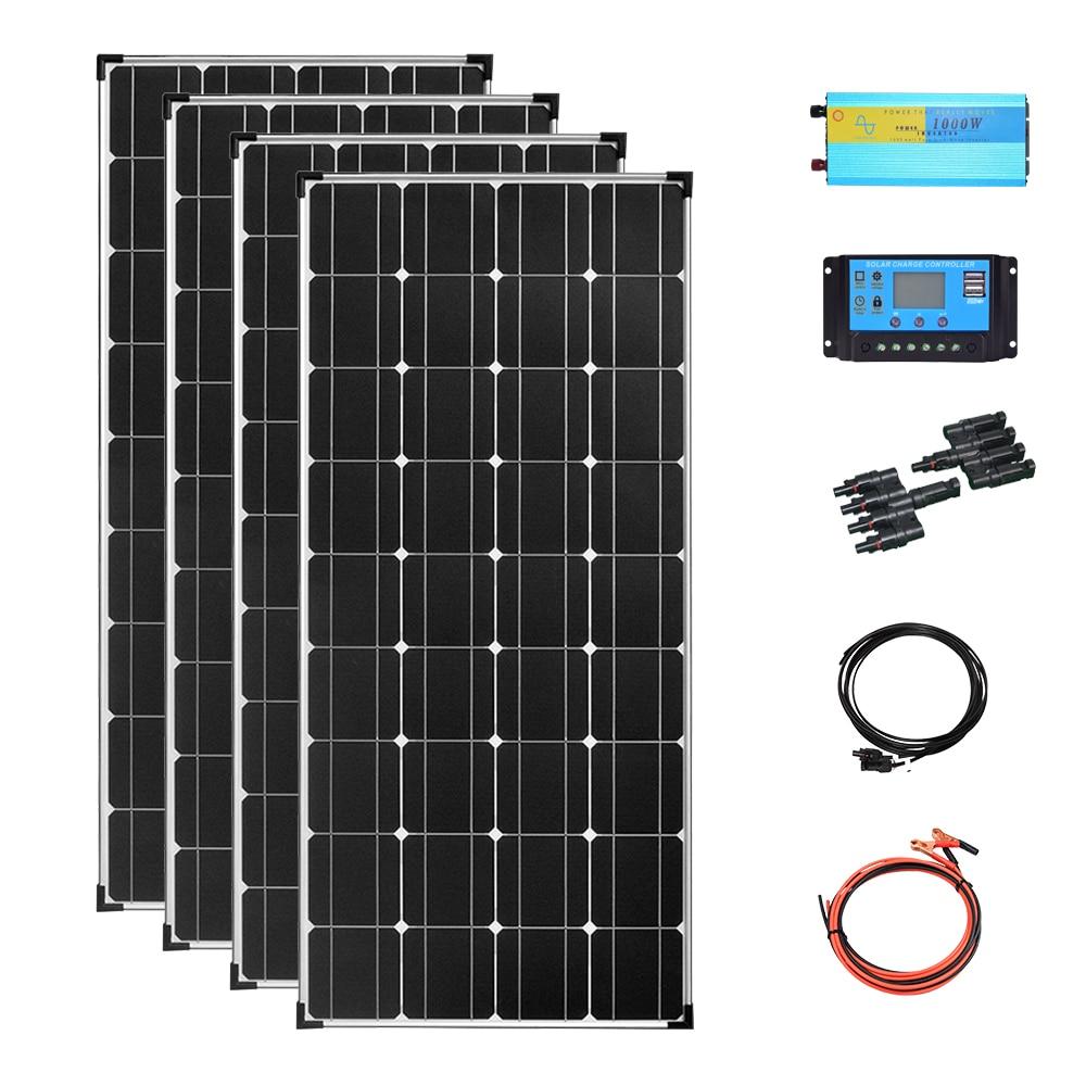 Kit completo de sistema de paneles solares para acampada, placa de carga de 480w, 400w, 12v, inversor fotovoltaico de 1000w para casa, RVs, remolque, barco
