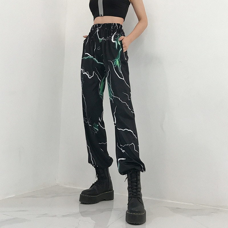 Gotyckie luźne damskie biurowe spodnie wysokiej talii harajuku dorywczo spodnie kobiece spodnie hip hopowe plus rozmiar dna disco