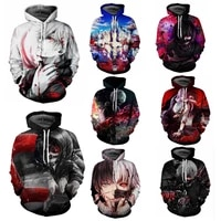 new most popular tokyo ghoul 3d printed custom mens trendy sweater movie character cosplay anime peripheral pullover hoodie