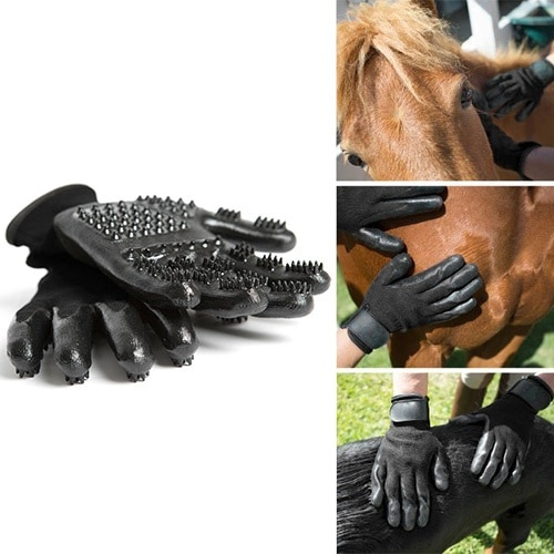 1 Pair Grooming Glove for Cats Soft Rubber Pet Hair Remover Dog Horse Cat Shedding Bathing Massage B