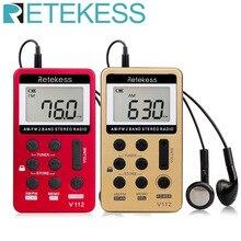 Retekess V112 Mini Pocket Radio FM AM 2 Banda Radio Ricevitore Digitale Messa a Punto con la Batteria Ricaricabile e Auricolare F9202