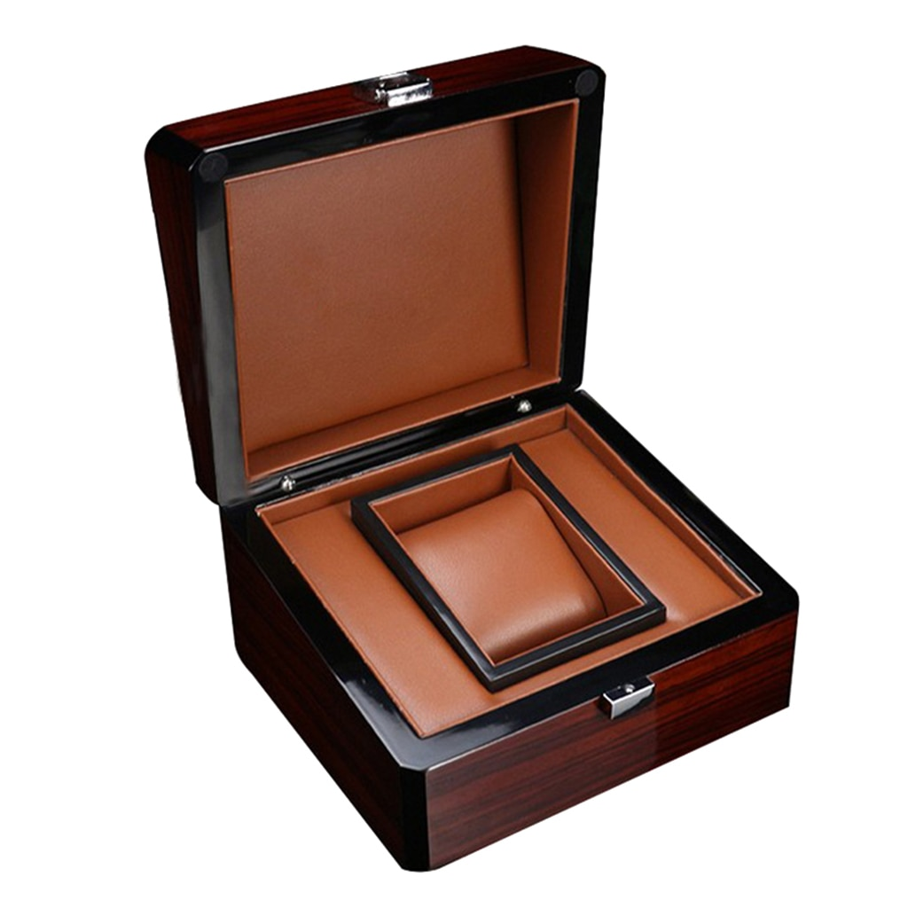 Boîte de montre en bois de qualité supérieure support simple avec coussin amovible vitrine boîte de rangement de bijoux