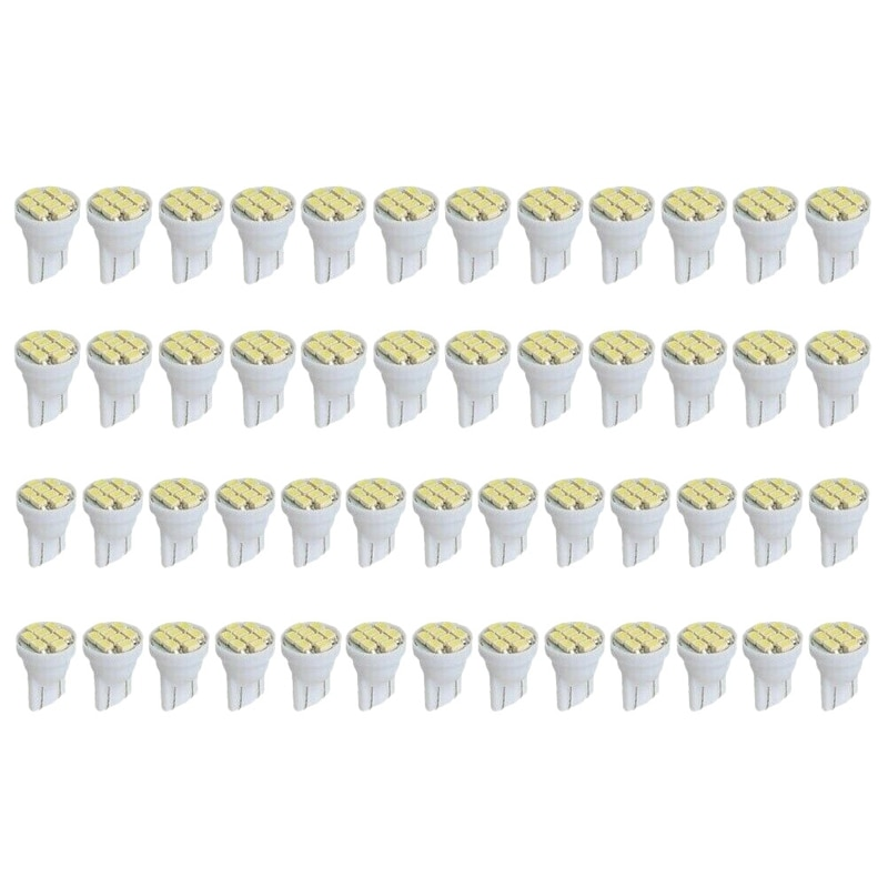 50 Uds T10 8SMD blanco brillante luz LED Interior bombillas W5W 194, 158, 168, 2825, 6000K