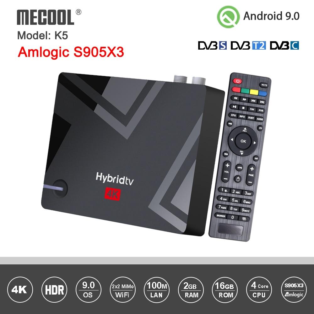 Mecool K5 صندوق أندرويد DVB S2 DVB T2 Amlogic S905X3 أندرويد 9.0 رباعية النواة 2GB 16GB DVB T2 S2 4K المزدوج واي فاي PVR تسجيل صندوق التلفزيون
