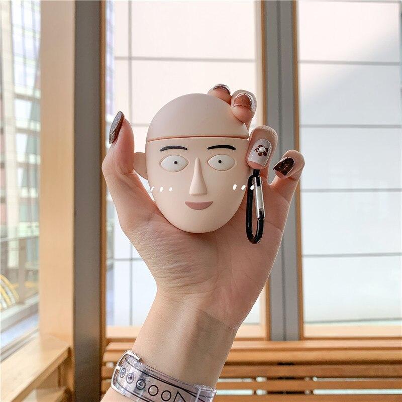 3D Anime One Punch hombre llavero estuches para auriculares para Apple Airpods 2 funda protectora de silicona cubre llavero