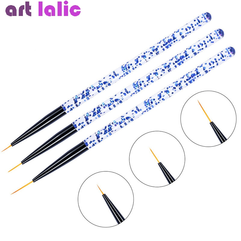 3pcs/set Nail Art Line Painting Pen 3D Tips Acrylic UV Gel Brushes Drawing Crystal Liner Glitter Fre