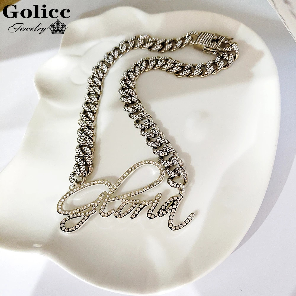 Golicc Custom Diamond Necklace/Zirconia Necklace Crystal Stainless Steel Silver Mens Letter Personalized Jewelry Gift