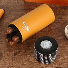 Кожаная дорожная коробка для сигар Humidor, кедровая деревянная портативная сигара, банка, гигрометр, коробка для сигар, подходит для 5 Cuba сигар