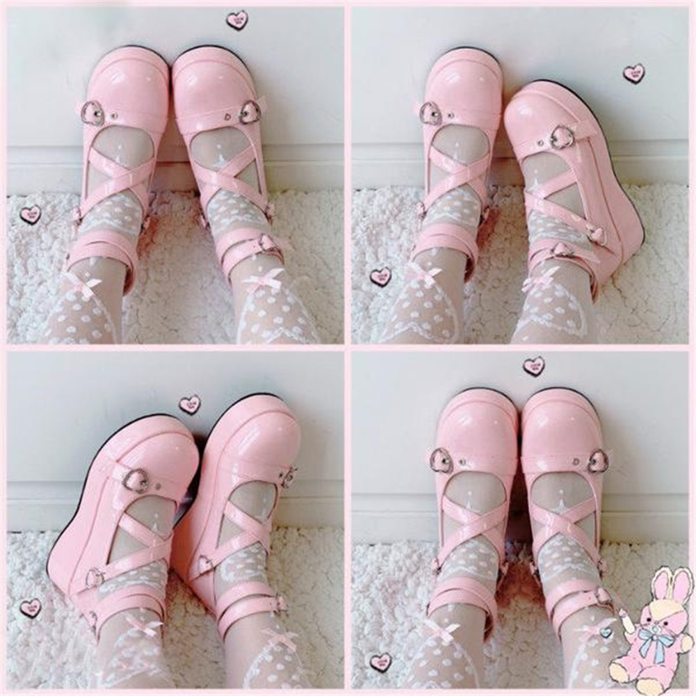 AliExpress - 2021 Brand Sweet Lovely Buckles Lolita Mary Janes Cosplay Black Gothic Pink Platform Med Heels Shoes Women Pumps Big Size 43