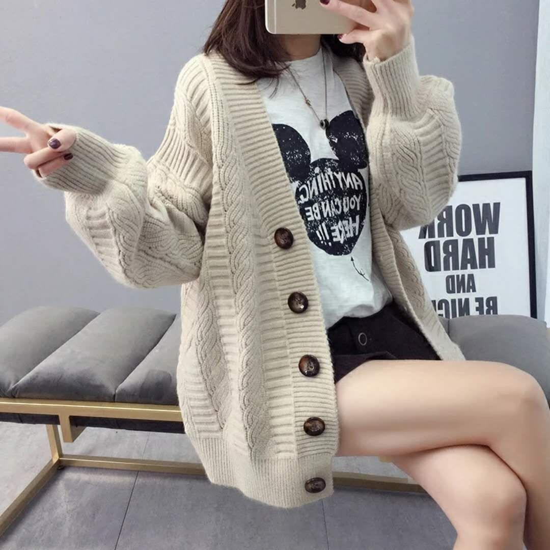 Sweater cardigan jacket female loose Korean student spring and autumn 2021 new sweater trend round b