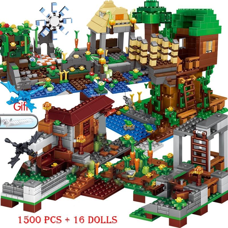 2021 novos conjuntos de blocos de construção lepining meus mundos aldeia cidade árvore casa cachoeira warhorse tijolos brinquedos para crianças