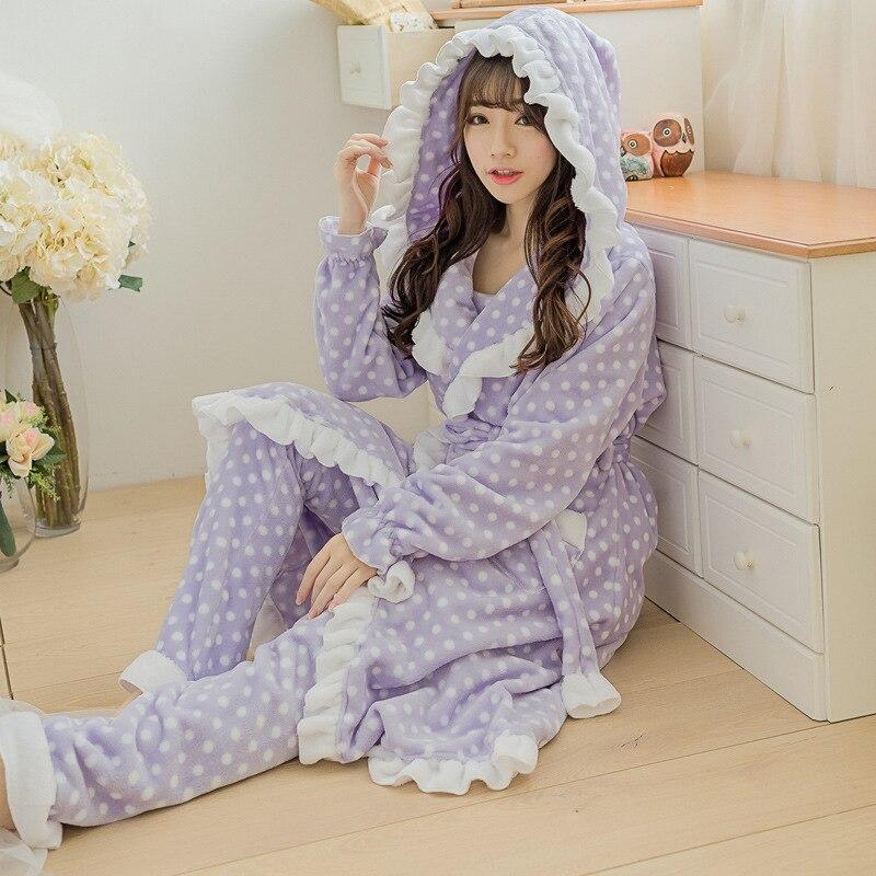 Фланелевая пижама с кружевным капюшоном, утепленные брюки, Халат, пижама с длинными рукавами, термобелье, повседневный комплект для сна, 3 шт...