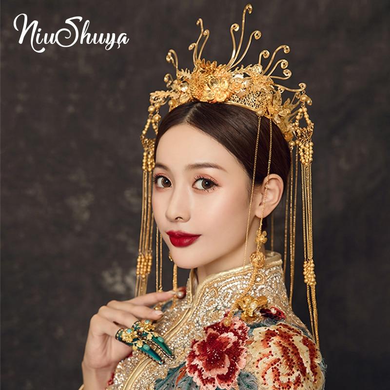 Nueva Corona de oro de la novia de NiuShuya corona pequeña de Fénix chino adorno de pelo de pavo real Cheongsam vestido Tiara Accesorios