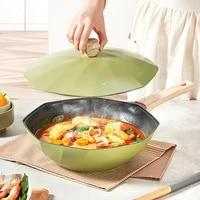 30cm32cm frying pan nonstick wok green steak aluminum deep octagonal cooking lid gas cooker induction large soup pot cookware
