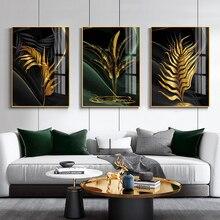 Affiche en toile avec feuilles dorées, peinture murale abstraite nordique pour décoration