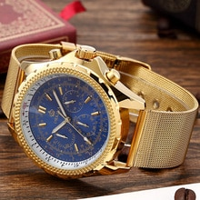 Top Brand Luxury Orkina Watches Mens Watches Stainless Steel Mesh Band Chronograph Quartz Watch Gold Men Watches relogio winner